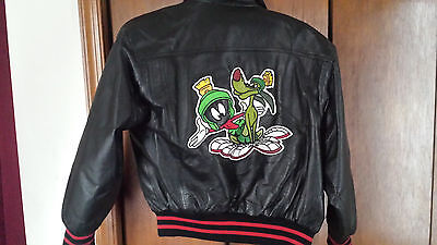 Looney Tunes SPACE JAM Marvin Martian K-9 LEATHER Jacket *Vintage 90's*