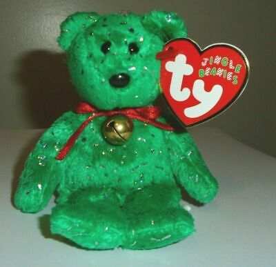 "Ty Jingle Beanie Baby ~ DECADE the (5.5"") Green Holiday Bear ~ MINT w/ MINT TAGS"