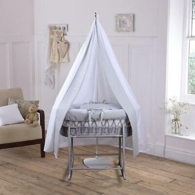 Clair de Lune 6-Piece Waffle Moses Basket Starter Set (Grey/Grey)