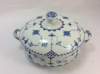 Furnivals Soup Vegetable Tureen 8 ins Diameter Blue Denmark Pattern with Lid