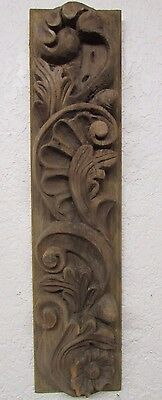Antique Old Door Carved Panel #3B-Mexican-Primitive-Vintage-6.5 x 27.5 x 3 -Rare