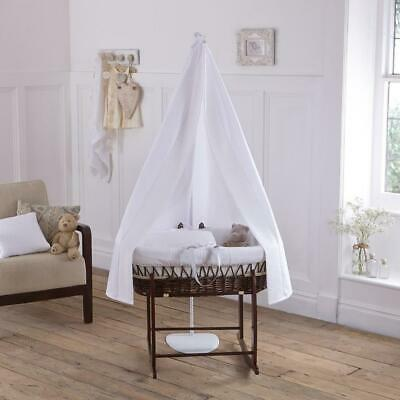 Clair de Lune 6-Piece Waffle Moses Basket Starter Set (White/Dark)