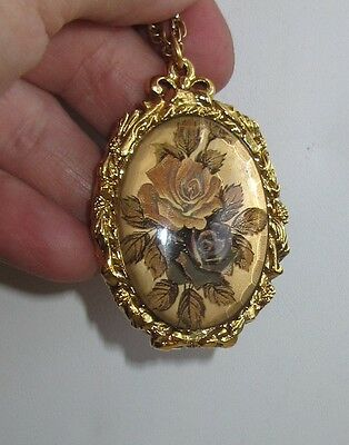 Vtg Max Factor Solid Perfume Compact Necklace Pendant amber roses Hypnotique