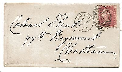 1874 QV 1d Cover EXETER Duplex to 77th Regiment at Chatham