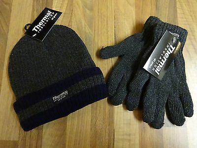 Boys Thermal Winter Warm Grey & Blue Hat & Gloves Set Ski Hat Cap Beanie New