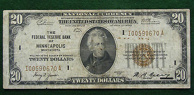 1929 Federal Reserve Bank MINNEAPOLIS $20 National Currency Note