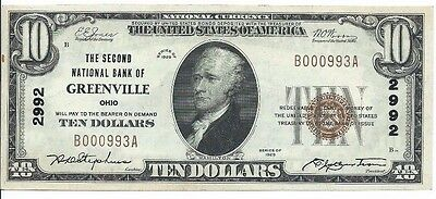 1929 Second National Bank Greenville OH $10 National Note; CH #2992; High Grade!