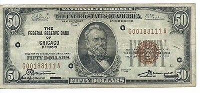 1929 Federal Reserve Bank CHICAGO, IL $50 National Currency Note