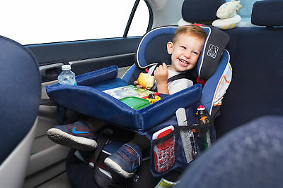 Kids Car Seat Travel Play Tray Organizer for Child Drink Snack Toy Holder Pocket