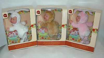Anne Geddes Bean Filled Baby Soft Toy - Pink or White Bunny or Brown Bear - NIP