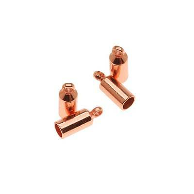 Copper Plated Barrel Cord Ends With Ring 10mm Long - Fits Up To 3mm Cord (4)