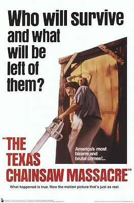 TEXAS CHAINSAW MASSACRE ~ 1974 WHO WILL SURVIVE 24x36  MOVIE POSTER Tobe Hooper