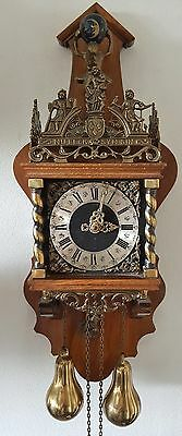 Large Warmink Wall Clock Zaanse Nut Wood Chain Driven Vintage 70s Brass Weights