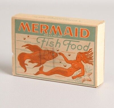 Vtg Mermaid Fish Food Box Old RARE Great Graphics Full Goldfish Aquarium