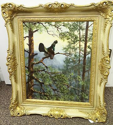 Original George Majewicz Forest and Bird Oil on Canvas Painting Signed Framed