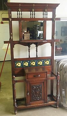 Beautiful Antique Hall Tree Stand  With Mirror And Tile Decoration Circa 1870