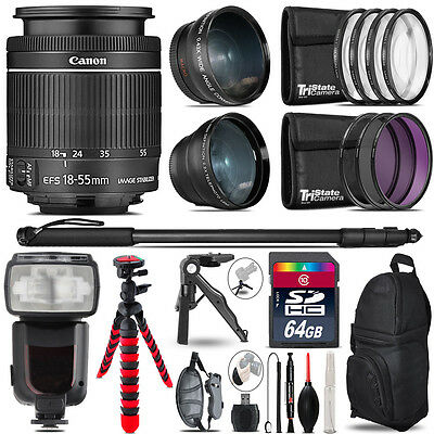 Canon 18-55mm IS STM - 3 Lens Kit + Professional Flash - 64GB Accessory Bundle