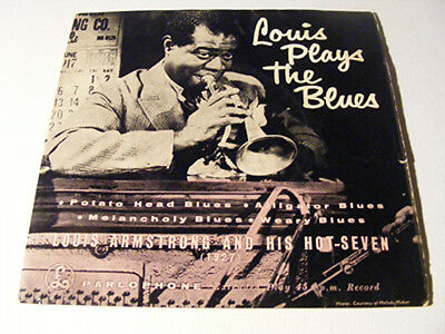 LOUIS ARMSTRONG  & HIS HOT SEVEN Louis Plays The Blues   Parlophone 1950s UK P/S