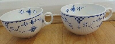 2 x Furnivals? Masons? Denmark tea coffee cups only blue white no saucers