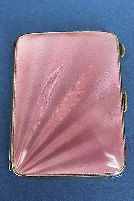 Art Deco Silver and Guilloche pink enamel cigarette/card case. SUPERB 1934