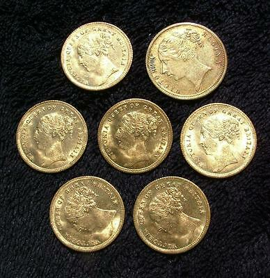 7 x ANTIQUE QUEEN VICTORIA SOVEREIGN TYPE GERMAN GAMING COUNTERS - LOT 110