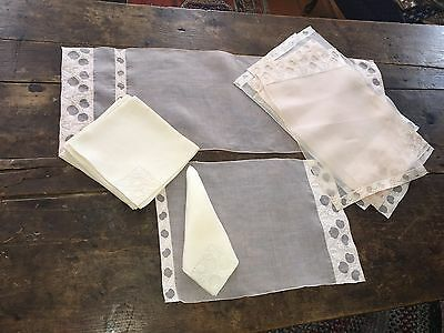 9pc Set Pale Coral Organdy + Linen Placemats Napkins + Runner Apples Madeira