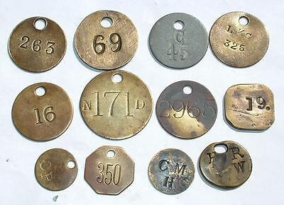 Collection Job Lot Victorian Brass Numbered Tally Check Tokens - Lot 114