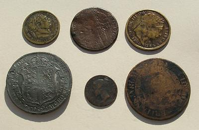 6 x CONTEMPORARY FORGERY NON REGAL COINS GEORGE III 1/2 CROWN VICTORIA GEORGE V