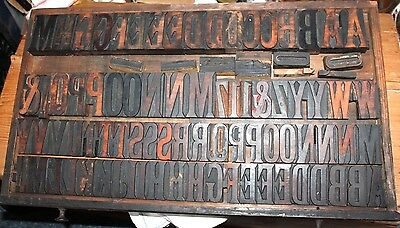 Antique Wooden typeset printing blocks and tray.