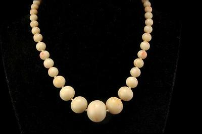 Antique Chinese Big Natural Angel Skin Coral Beads Necklace (050317041)
