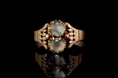 Antique Victorian Moonstone Beads 14K Gold Ring  (041117099)