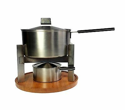 Carl Aubock Amboss Stainless Steel Fondue Set w 5 Fork and Original Box Austria