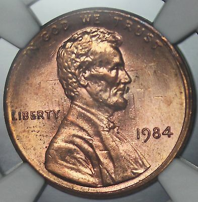1984-P U.S. Lincoln One Cent Penny Clashed Dies ERROR Coin - NGC MS 64 RD