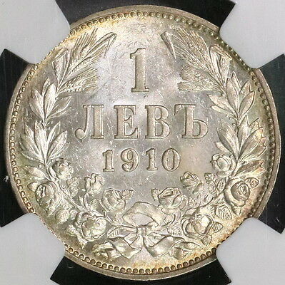 1910 NGC MS 61 BULGARIA SIlver 1 Lev Coin 1 Year Type (16111413C)