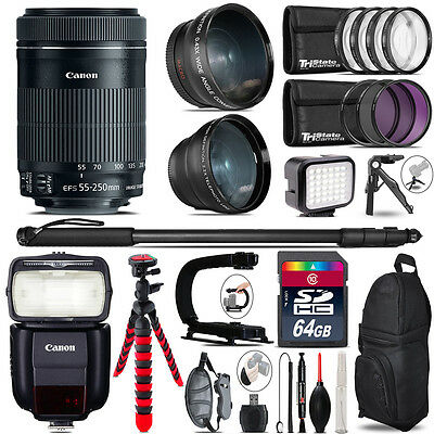 Canon 55-250mm IS STM + Speedlite 430EX III-RT - LED LIGHT - 64GB Accessory Kit