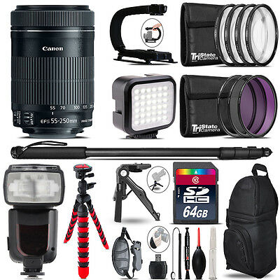 Canon 55-250mm IS STM - Video Kit + Pro Flash + Monopad - 64GB Accessory Bundle