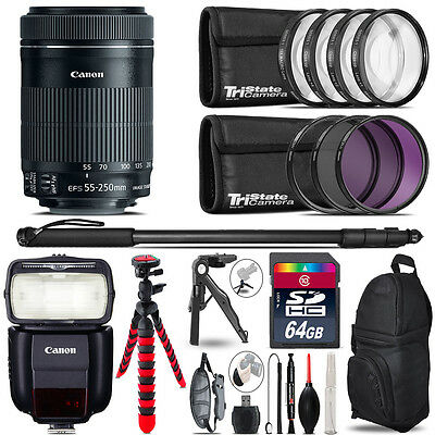 Canon 55-250mm IS STM + Speedlite 430EX III-RT + UV-CPL-FLD - 64GB Accessory Kit