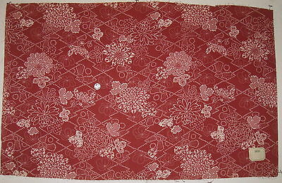 Antique Lovely Late 19th C. French Japanese Floral Cotton Printed Fabric (7616)