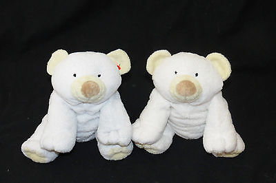 """Ty Pluffies Cloud White Polar Bear Beanie Clouds Plush Stuffed Baby 9"""" Toy 2002"""