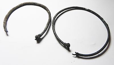 Zurqieh - Ancient Holy Land , 2 Iron Age Silver Bracelets. 1200 - 1000 B.c