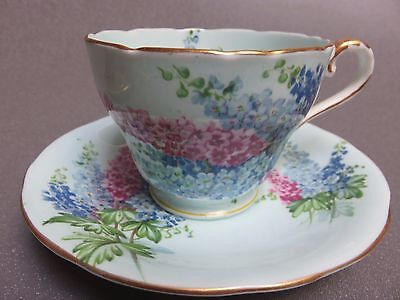 Aynsley Blue Cup Saucer With 3 Colored  Lilac Sprays Stunning