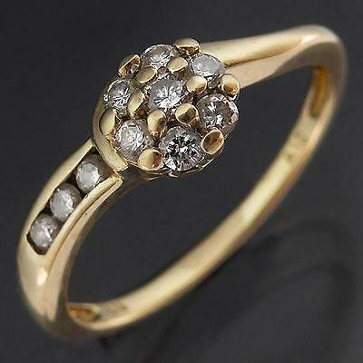 Asymmetric Solid 9k YELLOW GOLD 10 DIAMOND CLUSTER & CHANNEL RING Sz L