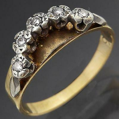 Older Vintage 5 DIAMOND 9k Solid Yellow GOLD CURVED ETERNITY RING Sz K1/2