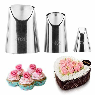 3Pcs/Set Flower Rose Icing Piping Nozzles Cream Petal Pastry Cake Decorate Tips