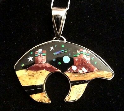 Native American Sterling Inlay Zuni Bear Storyteller Highway Scene Creation