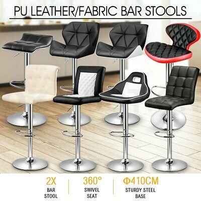 2x New PU Leather/Fabric Swivel Bar Stool Kitchen Dining Chair BarStool Gas Lift