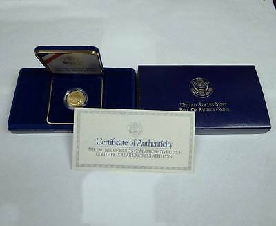 1993 W Bill Of Rights Commemorative Gold Five $5 Dollar Coin United States Mint