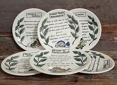 6 Vintage French Plate Cook Recip Homard Thermidor Bouillabaisse Signed Gien