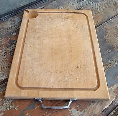 VINTAGE FRENCH WOODEN CUTTING BOARD KITCHEN WOODENWARE WITH ANDLE woodenware