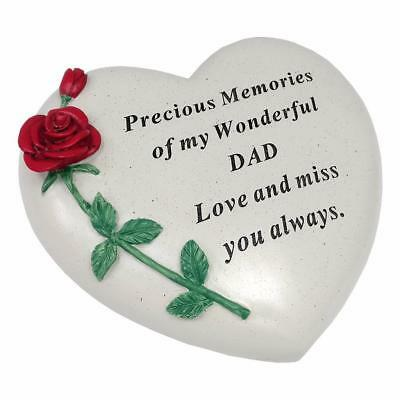 Large Dad Red Rose Heart Stone Graveside Memorial Scroll Ornament DF17405D